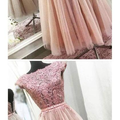 A-LINE BATEAU TEA LENGTH PROM DRESS..