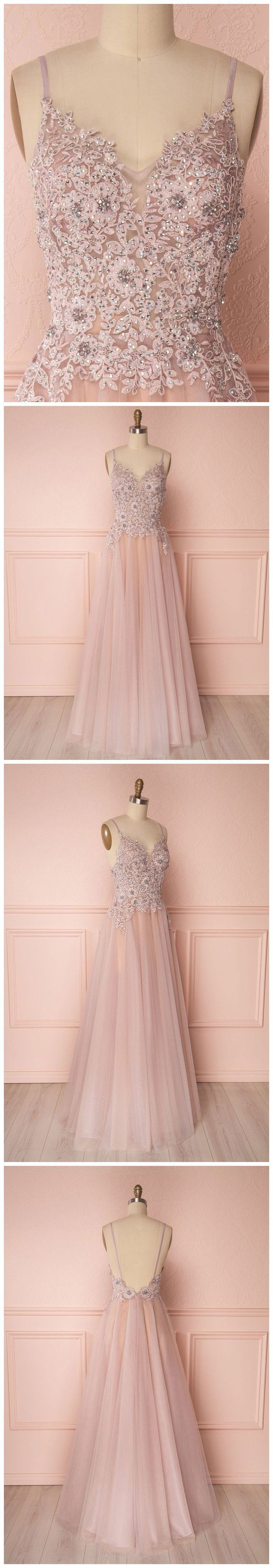 6b1a68efe66 A-line Spaghetti Straps Pink Prom Dress With Lace Prom Dresses Long Evening  Dress