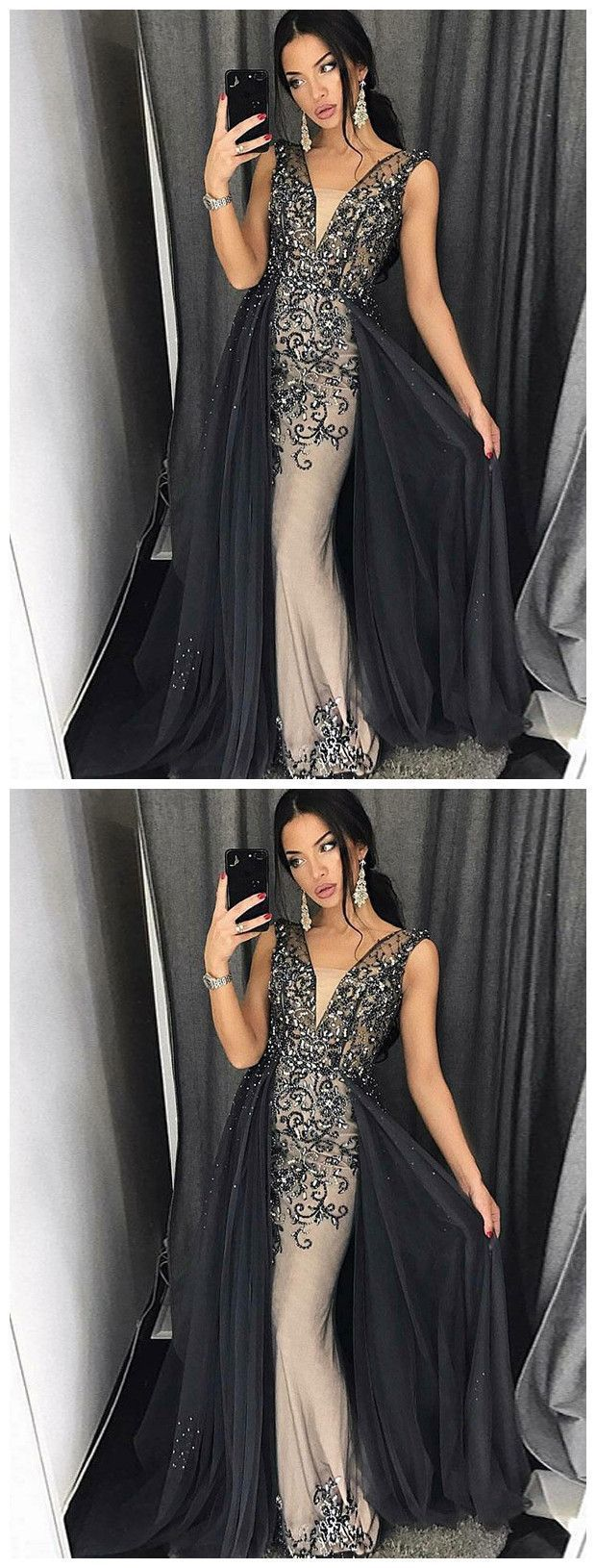 TRUMPET/MERMAID STRAPS BLACK PROM DRESS SPARKLY PROM DRESSES LONG EVENING DRESS