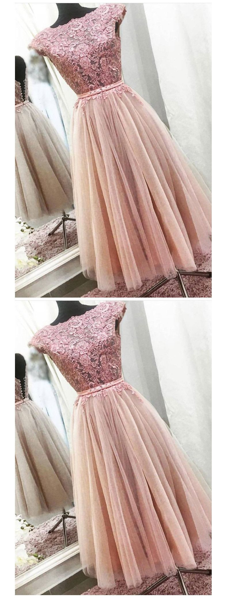 A-LINE BATEAU TEA LENGTH PROM DRESS WITH LACE PROM DRESSES LONG EVENING DRESS