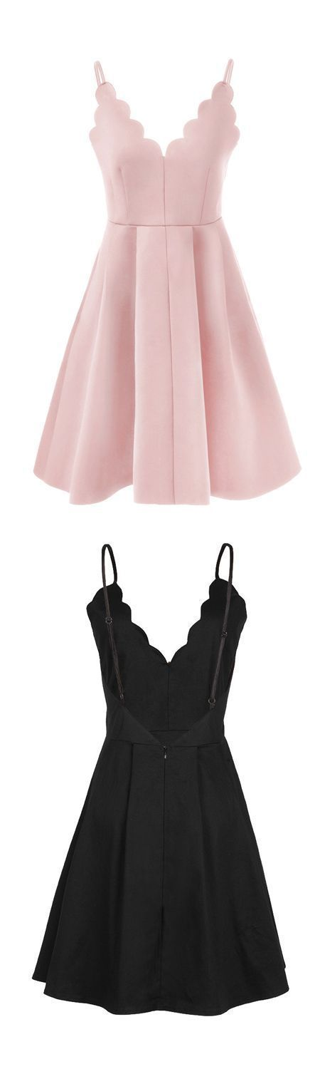 Cute A Line Petals Neck Spaghetti Straps Pink Short Homecoming Dresses, Formal Short Prom Dresses, Graduation Dresses