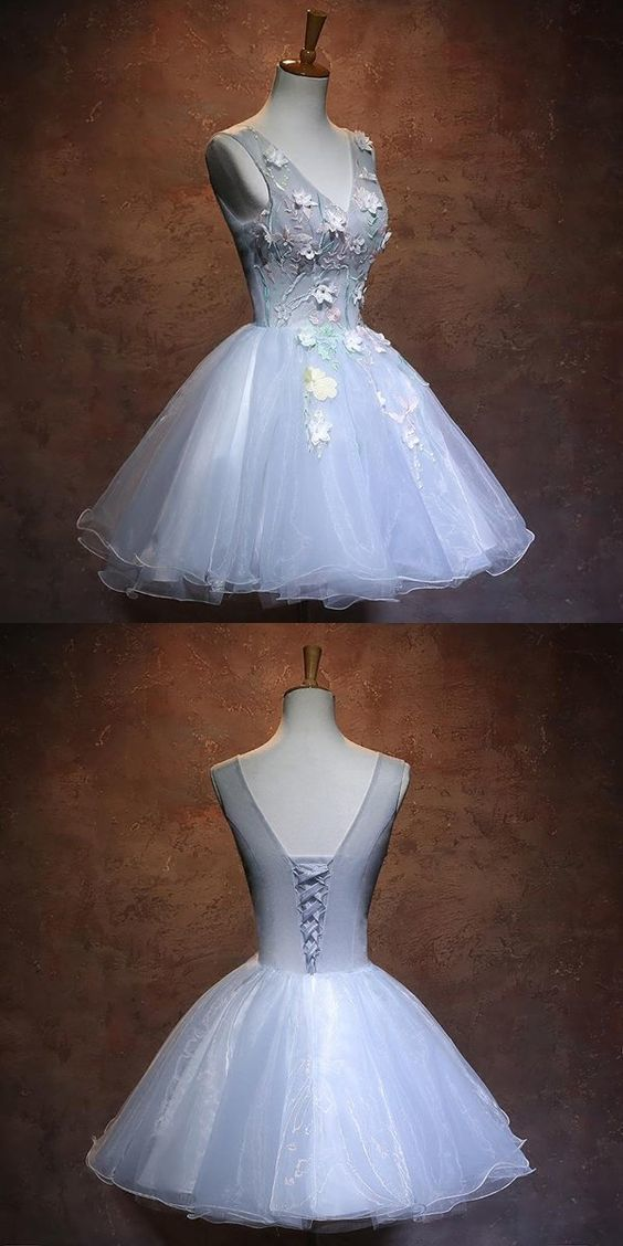 New Arrival Light Blue Homecoming Dresses With Appliques,Affordable Organza Short Homecoming Dresses With V-Neck