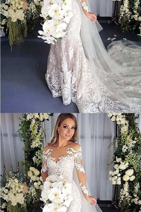 Mermaid Illusion Bateau Long Sleeves Court Train Wedding Dress with Appliques