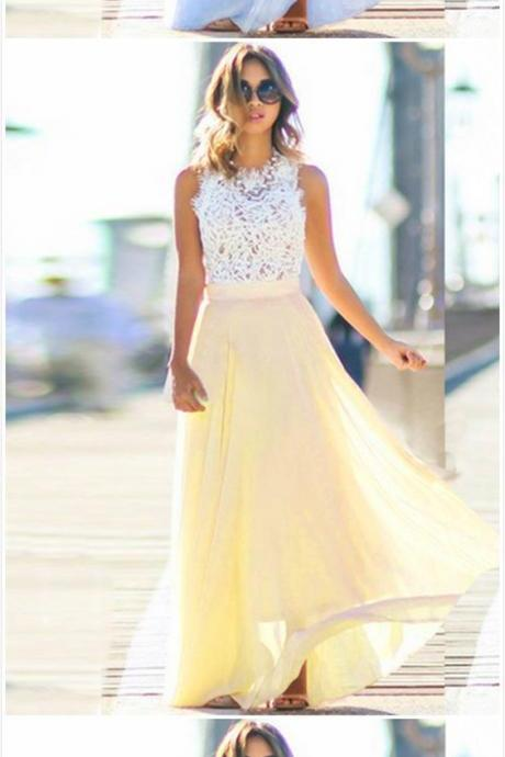 Elegant Sleeveless Lace Chiffon Evening Party Dress