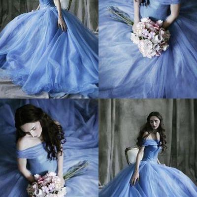 Blue Tull Ball Gown,Off the Shoulder Prom Dress,Custom Made Evening Dress