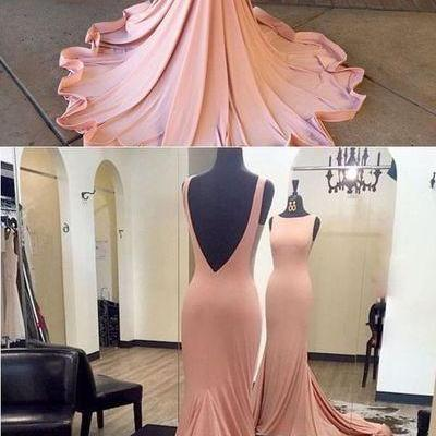 Trumpet/Mermaid Scoop Neck Jersey Ruffles Court Train Burgundy Backless New Arrival Prom Dresses