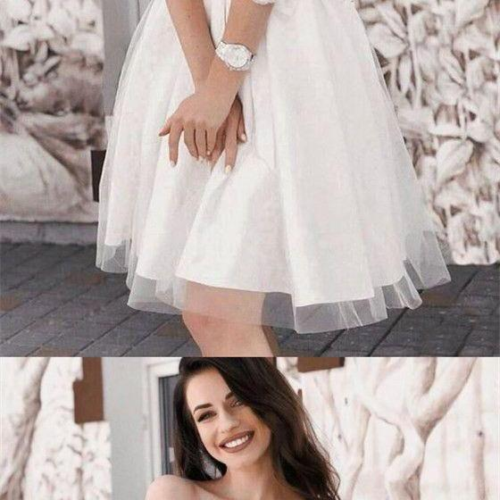 A-Line Off-Shoulder 3/4 Sleeves White Short Cheap Homecoming Party Dresses