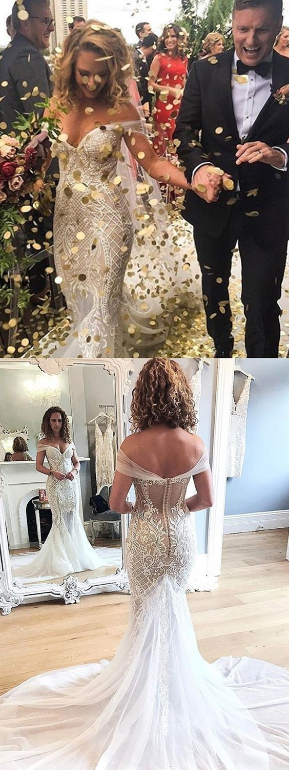 2d5ea6f8347 Mermaid Style Off-the-Shoulder Court Train Wedding Dress with Lace Appliques